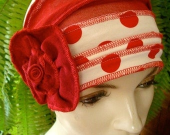 Womens hat Red and White Spots Sz small Womens beanie Soft Chemo headwear Cloche Flapper hat Bohemian hat with red flower