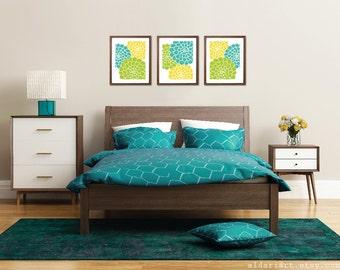 Modern Flowers Art Prints - Succulent Art Prints - Flower Trio Wall Art - Multi Panel -  Aqua Mint Teal Lemon Lime - Summer Decor