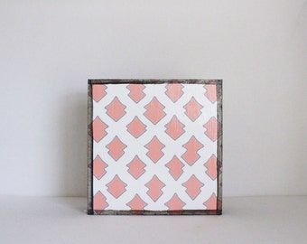 art for kids room-moroccan lantern- 5x5 art block-  pink geometric wall art- nursery decor-redtilestudio