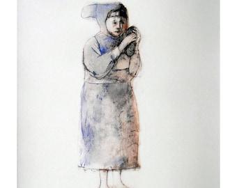 Girl Toy Doll print of original art drawing illustration people figure
