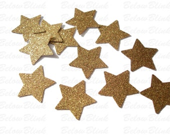 50 Twinkle Twinkle Little Star Glitter Gold Star confetti, Party Decorations, Baby Shower, Birthday Party - No692