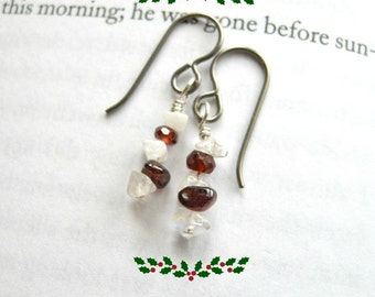 Short Peppermint Bark Earrings Hypoallergenic Niobium Garnet & Moonstone / Simple Festive Christmas Winter Jewelry Sensitive Ears
