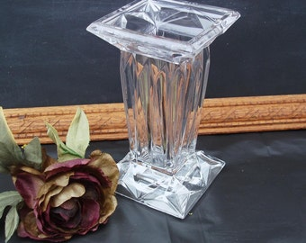Vintage Lead Crystal Vase / Square Art Deco Style Candleholder /  Wedding Centerpiece or Valentine Gift