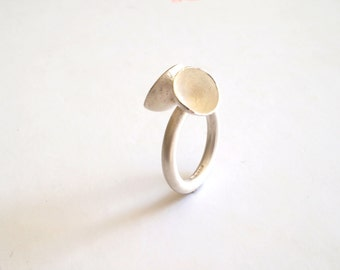 Sculptural Silver Ring with reticulated cups  - Handmade