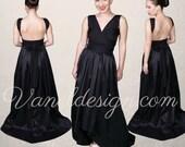 Black Prom Dress, Convertible Dress Custom Made in 50 Colors, Black Formal Dress