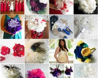 Custom Designed Brides Feather Bouquet - LARGE - Wedding Flowers - Alternative Forever Flowers