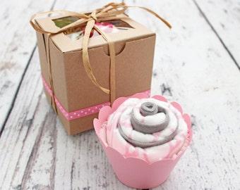 Baby Girl Gift Burp Cloth Cupcake, Girl Baby Shower Gift, Baby Girl Gift Set, Pink Whales, Flowers, Birdies, Ladybug