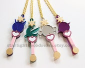SET of 4 Outer Senshi Lip Rod Phone Strap or Necklace Sailor Moon Inspired Fanart Acrylic for Mahou Kei, Magical Girl Style