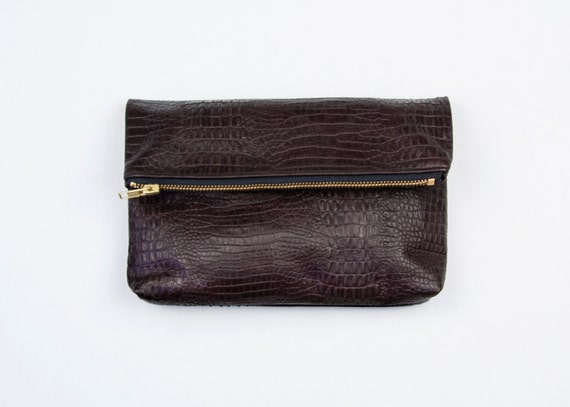 EMMA Brown Leather Fold Clutch. Embossed Dark Brown Leather Fold Clutch. Small Leather Fold Pouch. Brown minimalist clutch. Gator clutch