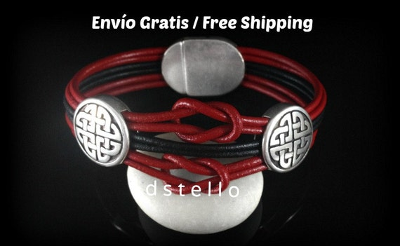 Celtic jewelry bracelet, Leather bracelet, Celtic knot, Talisman bracelet, Irish gift, Men's bracelet, Women's present, Magnetic clasp