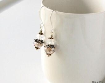 Champagne Earrings, Beige Glass Earrings, Crystal Glass Earrings, Faceted Glass Earrings, Silver Earrings,  Bridal Earrings, Dangle Earrings