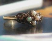 Vintage Opal Cluster Ring 10K GOLD Mount