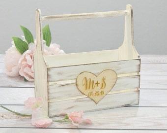 Shabby chic personalized flower girl basket