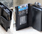 iPhone5/ Super safety/ Elastic/ Magnetic/ ID window/ Black genuine leather wallet with case/ mini zip/ wristlet strap