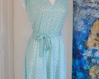 Vintage Dress, 80s Vintage Dress, Mint Green Dress, Midi Dress, Summer Dress