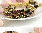 Night confetti  - Classic Bead Crochet Bracelet  Beaded Minimalist Bracelet Beadwork Bracelet Multi-Colored Colorful Beadwork Jewelry