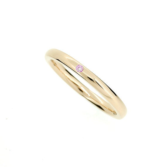 Yellow Gold Wedding Band With Pink Sapphire Thin