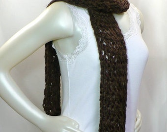 Chocolate Brown Scarf: Chunky Knit Scarf with Sequins, Fringed Scarf, Hand Knit Scarf, Ready to Ship