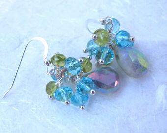 Mystic Aquamarine Briolette, Peridot & Crystal Earrings