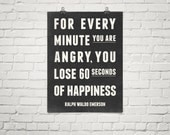 Inspirational Print, 60 Seconds Of Happiness, Typography Wall Art, Quote Posters, Black and White Wall Art, Motivational Poster