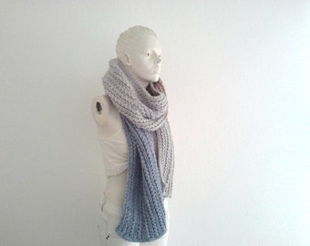 Supersoft Chunky Long Scarf, Open Ended Textured Color Block Scarf, Melange Wool Knitwear, Winter Fashion, Warm&Cozy, Tricolor Gift