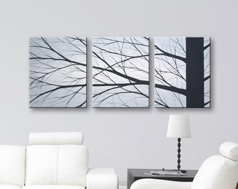 Wall Art Painting Minimalist Wall Decor Canvas Art 3 Piece Wall Art Original Paintings Home Decor Ideas Gray Blue Painting of Trees 48x20