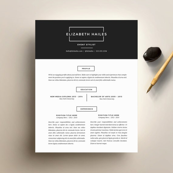 Exceptional Resume Template And Cover Letter Template For Word | DIY Printable Resume 4  Pack | The Elizabeth | Minimalist And Hipster CV Design  Minimalist Resume Template
