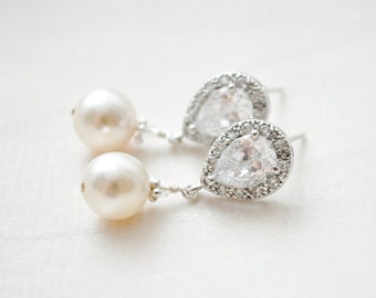 Bridal Earrings, Drop Pearl Earrings, Ivory Pearl Earrings, Wedding Earrings, Bridal Jewelry