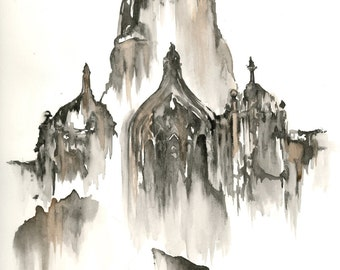 Gothic Contemporary Watercolor Architecture Painting Black and White Print