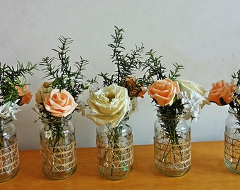 Rustic Spring Summer wedding Jar Centerpieces Flowers for jars Small Reception Decor Shabby Chic Garden Table centerpieces Meadow flowers