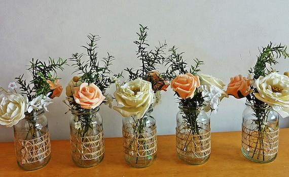 Rustic spring summer wedding jar centerpieces flowers for jars