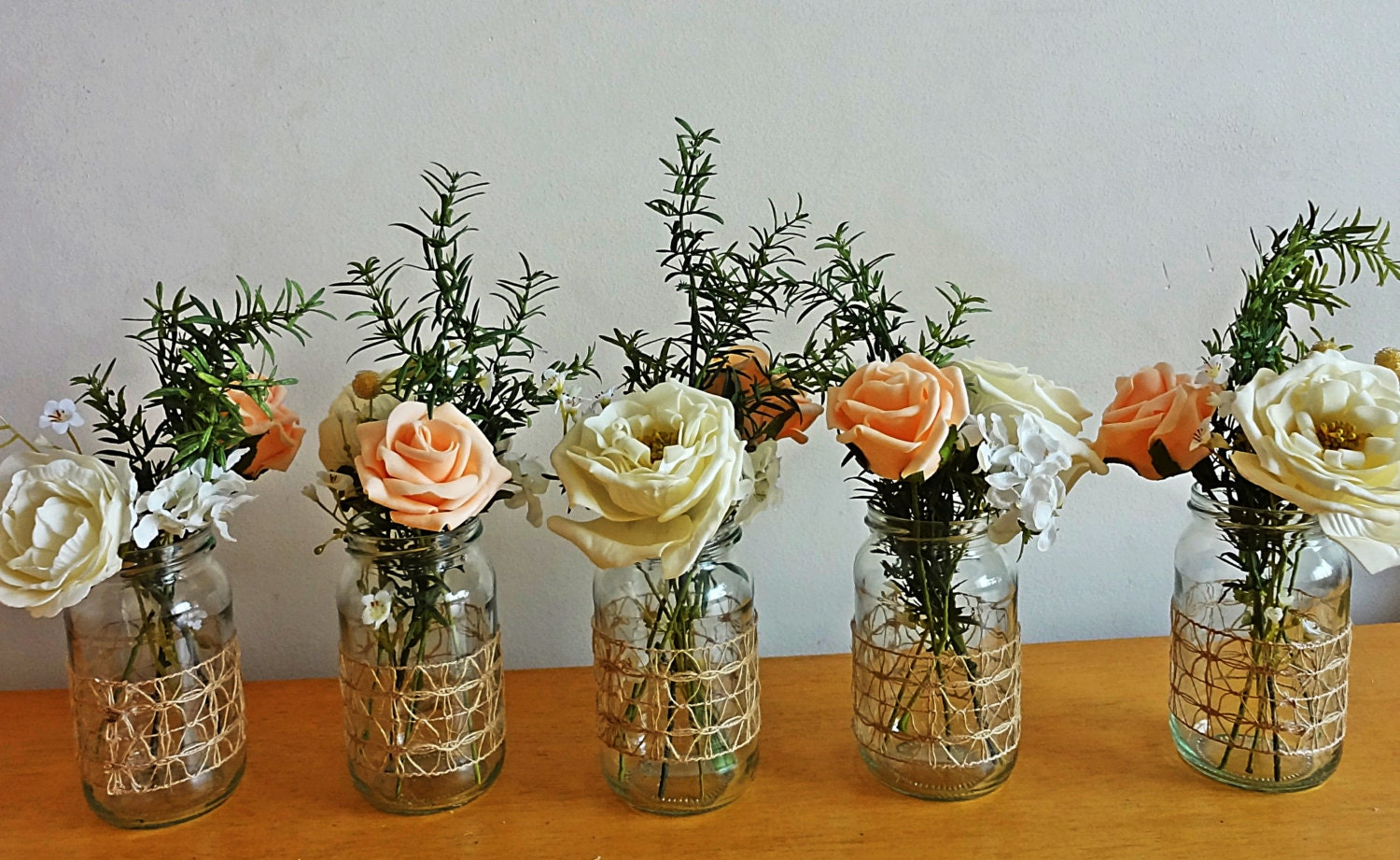 Rustic spring summer wedding jar centerpieces flowers for jars for Petite table decorative