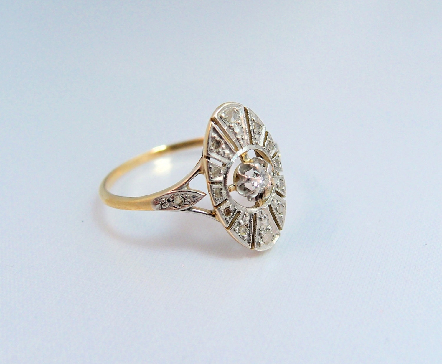 Art deco 18k solid gold ring stamped french gold diamond for Diamond stamp on jewelry