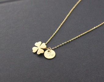 Personalized necklace,Clover Necklace,initial necklace,Gold Clover Necklace,initial jewelry,good luck,Layering Necklaces,Friendship necklace