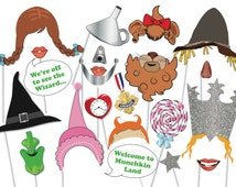 Wizard of OZ Photo booth Party Props Set - 21 Piece PRINTABLE - PhotoBooth Props, Dorothy, Scarecrow, Tinman, Cowardly Lion, Wicked Witch