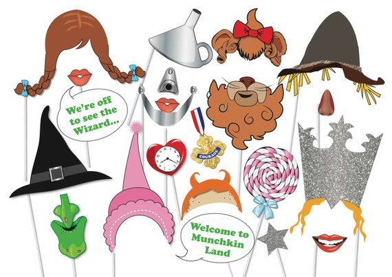 Wizard Of Oz Photo Booth Party Props Set 21 Piece Printable