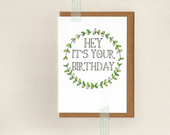 hey it's your birthday . greeting card . green white wreath rustic boho simple . australia