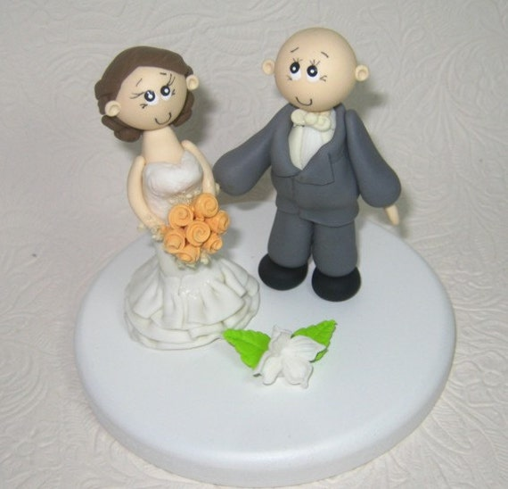 wedding cake toppers bald groom wedding topper bald groom custom cake topper 26387