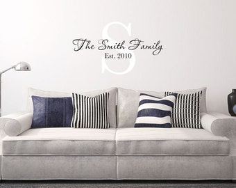 Family Name Decal - Personalized Family Wall Decal Name Monogram - Vinyl Wall Decal Family Wall Decal