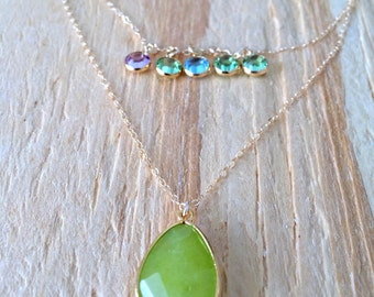 Personalized Layered Peridot Necklace,14k Birthstone Necklace,5 Birthstone Necklace, Family Necklace,Mothers Necklace, Bridesmaids,Wedding