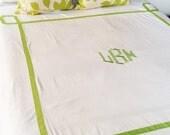 Monogram King Duvet with Ribbon Trestle Trim  / Monogram Bedding / Comforter / Coverelet