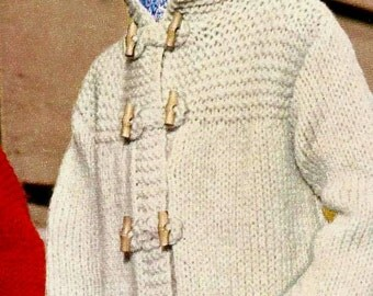 Hooded Toggle Coat and Knit Gloves Vintage Knitting Pattern Download