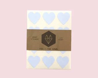 144 Baby Blue / Light Blue Heart Stickers