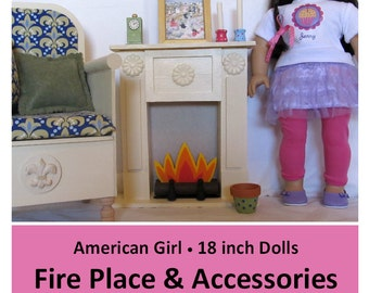 "18 inch Doll Furniture PATTERN _ 18"" Doll Size Fire Place & Accessories _ Easy to Make! + BONUS Guide _ Digital Download _ PDF Pattern"
