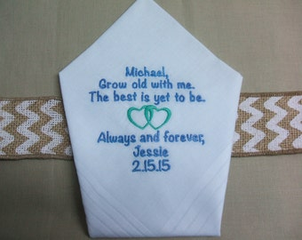 """GROOM Gift from BRIDE Custom Embroidered """"Grow Old with Me"""" Personalized Wedding Handkerchief"""