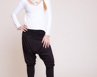 Women harem pants, Drop-crotch pants, women trousers, yoga pants, black pants  sizes : XS / S / M / L / XL