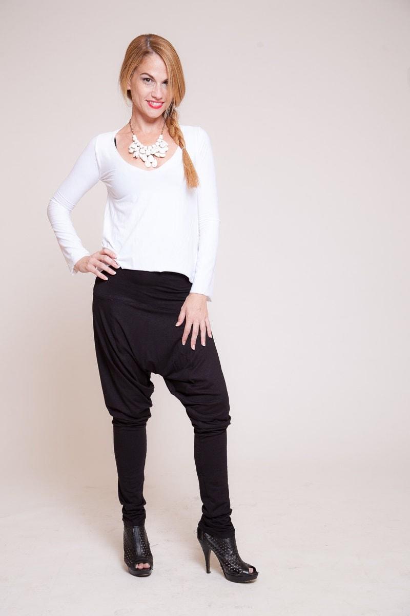 Fantastic Women Harem Pants Dropcrotch Pants Women Trousers Black