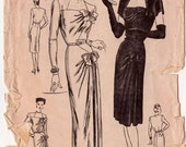 Vogue Special Design s-4648 Rare Vintage 1940s Sewing Pattern Evening Dress Bust 32