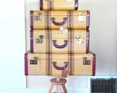 vintage suitcase set luggage matching suitcases*RARE* tweed striped gift vintage wedding decor film 1940s 1950s mid century stacking antique