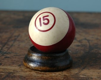 "Vintage Billiard Ball 2.25"" No. 15 Burgundy Maroon White Striped Paperweight Decor Plastic Bakelite Retro Pool Display Man Cave Number Old"